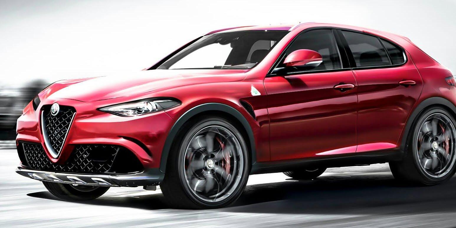 Возможный облик Alfa Romeo Stelvio. Стремительная боковина Alfa Romeo Stelvio выглядит почти как у Giulia. Таким образом, дизайн подчеркивает динамичный имидж и дорожное призвание кроссовера. Ведь с ролью покорителей бездорожья прекрасно справляются теперь уже братья Jeep.